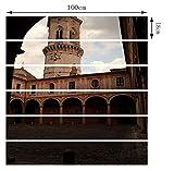 Wasserdicht Wandsticker Europäischen Stil Kreativ Treppen Aufkleber 3D Renovieren Treppenhaus Aufkleber Schäbig Clock Tower DIY Wandaufkleber,PhotoColor-100 * 18 * 6pcs