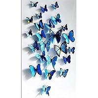 Adhesivos 3D decorativos para pared, diseño de mariposas. 12 unidades (Azul)