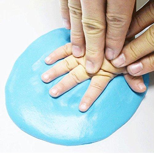 QHGstore Baby Handabdruck Abdruck Lehm Handfuß Tinten Auflage DIY Fertigkeit Geschenke Dunkelblau Rosa