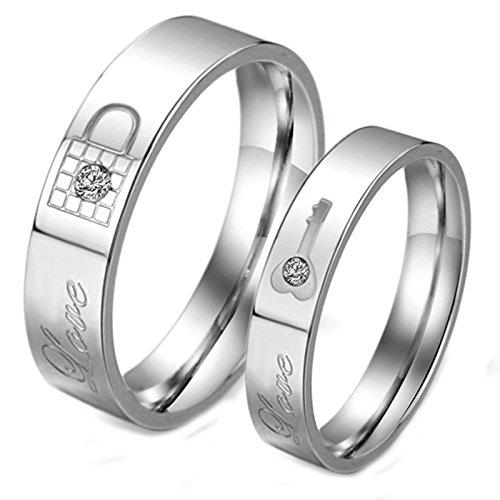 Daesar 2 Stück Männer Ringe Eheringe Verlobungsringe Freundschaftsringe Schlüssel Sperren Zirkonia Silber Ringe Herren Größe 60 (19.1) & 62 (19.7) (Titanum Verlobungsring)