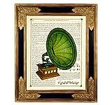 Grammophon Musik Poster Kunstdruck auf antiker Buchseite Schallplatte Geschenk Bild ungerahmt