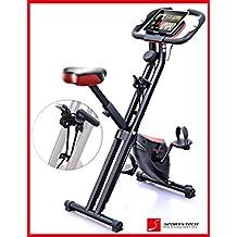 Sportstech F-Bike X100 bicicleta estática con banda elástica patentada 4KG inercia ejercicio de cardio soporte para tablet bidireccional freno magnético sin escalones sensor pulso plegable