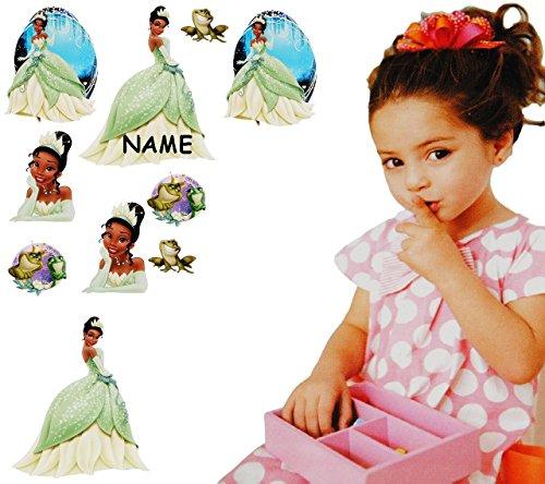 alles-meine.de GmbH 10 Stück: Wandsticker -  Disney Küss den Frosch / Prinzessin Tiana  - incl. Name - selbstklebend + wiederverwendbar - Aufkleber für Kinderzimmer - Wandtatto..