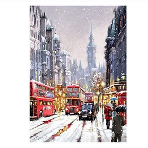 n Nach Zahlen London Street Ölgemälde Kits Färbung Wandkunst Bild Geschenk Rahmenlose DIY ()