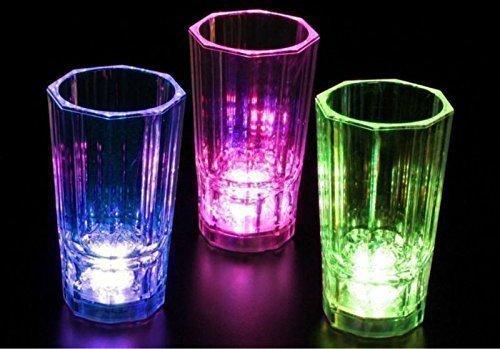 Blinkende LED farbig 2 Oz / 60 ml Partei Schnapsgläser - 12 Stück