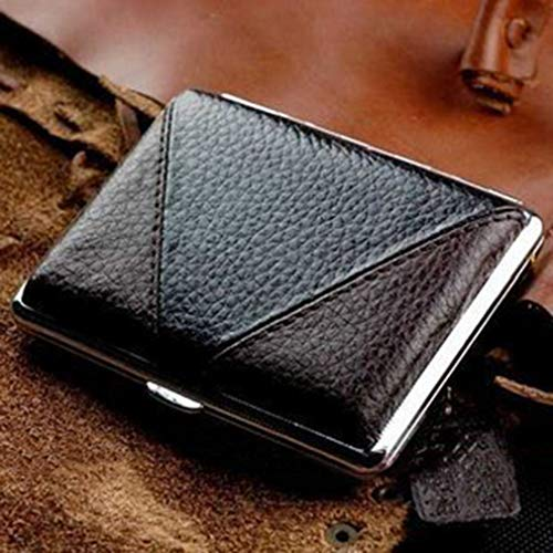QLIGHA Leder Zigarettenschachtel Rechteckig Ultra dünn Gürtel Automatik Zigarette Halter tragbar Zigarettenschachtel,Brown,16sticks