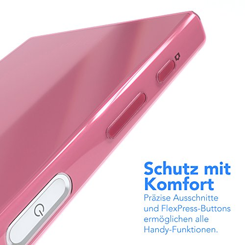 """Sony Xperia Z5 Compact Hülle - EAZY CASE Slimcover """"Clear"""" Handyhülle - Schutzhülle als Smartphone Case in Grün Clear Rosa"""