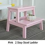 YXX- Hölzerne kleine 2 Schritt-Schemel-Leiter für Erwachsene u. Scherzt Innenküche hölzerne kleine Fuß-Schemel tragbares Blumen-Gestell/Speicher-Regal/Schuh-Bank (Farbe : Pink)