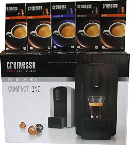 Cremesso Compact One Kapsel - Kaffeemaschine schwarz inkl 80 Kapseln Kapselmaschine