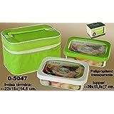 DonRegaloWeb - Set de 2 fiambreras con una capacidad de 900 ml de polipropileno y tapas en blanco y verde con bolsa termica.