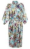 BOLAWOO Damen Morgenmantel Vintage Blumen Bademantel Satin Lange Negligee Kimono Seidenrobe Nacht Wärmen Mode Marken Sche (Color : Blau, Size : M)