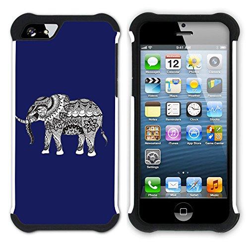 Graphic4You Stammes- Elefant (Wasserblau) Hart + Weiche Kratzfeste Hülle Case Schale Tasche Schutzhülle für Apple iPhone SE / 5 / 5S Marineblau