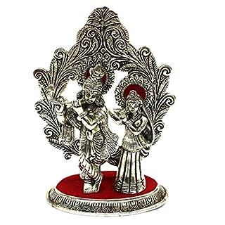 AMBA HANDICRAFT oxidised metal antique white matal statue of radha krishna showpiece indian temple handicraft for gift special diwali religious decorative for interior india home pooja work. X068