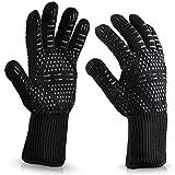 GeKLok Hitze-Grill-Handschuhe, revolutionär, 932°F, extrem hitzebeständig, EN407-zertifizierte Handschuhe, Küchenhandschuhe aus Silikon, fünf Finger, Grillen, Koch-Handschuhe, 1 Paar, 1