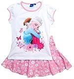 Frozen - Die Eiskönigin T-Shirt und Rock Kollektion 2018 Set 98 104 110 116 122 128 Mädchen Kurzarmshirt ELSA Disney (110-116, Rosa-Weiß)