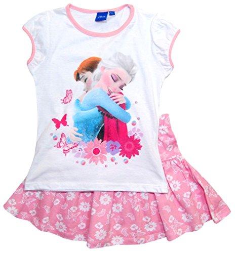 igin T-Shirt und Rock Kollektion 2018 Set 98 104 110 116 122 128 Mädchen Kurzarmshirt Elsa Disney (104 - 110, Rosa-Weiß) (Disney Frozen Kollektion)