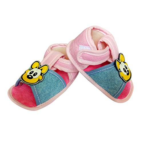 Littly Infant Booties / Sandals with Soft Base for Baby Boys and Baby Girls (Pink)
