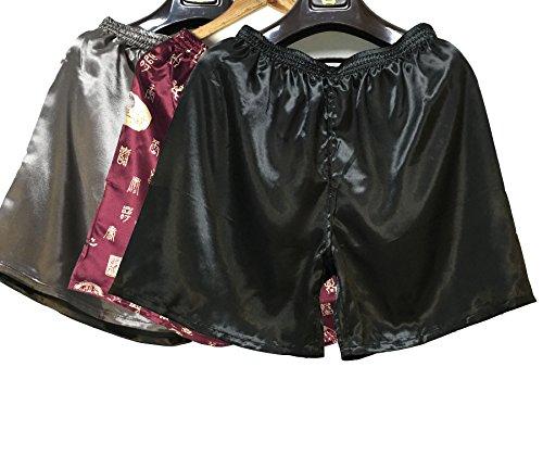 Wantschun Herren Satin Silk Unterwäsche Nachtwäsche Boxershorts Unterhosen Pyjama Bottom Shorts Pants Hose Schwarz+E+Grau EU S