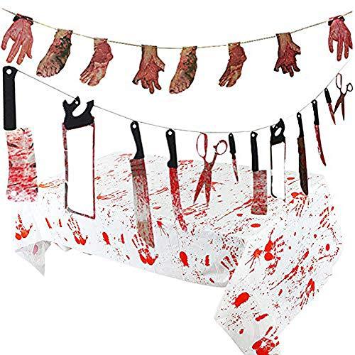 Tian Halloween Party Dekoration Requisiten Set einschließlich Blutige Waffen Messer Garland, Broken Hands & Feet Banner und Blutige Tischdecke (14 Stück)