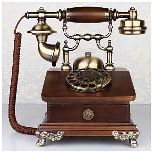 SMC Messingkautschuk Massivholz Rotierende Scheibe Taste Brown Dial Telefon Wohnzimmer Schublade Lagerung Mode Kreative Massivholz Feste Telefon Freisprechen (Color : A)