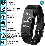 Bracelet connecté – OuiVA Band One – Marque Française – Capteur Cardiaque Podomètre Bluetooth 4.0 – Tracker Activité physique (Noir)