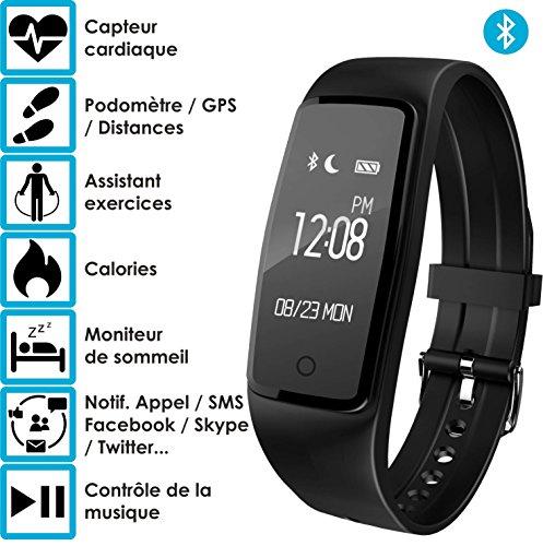 Bracelet connecté - OuiVA Riva Band One Color Edition - Marque Française - Capteur Cardiaque Podomètre Bluetooth 4.0 - Tracker Activité physique