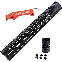 "CNC Aluminio 13.5"" Key Mod Riel Guardamanos para M4 M16 SR16 SR25 Marui G&P CA Airsoft AEG - AirsoftGoGo Llavero Incluido"