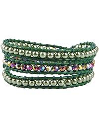 KELITCH Näturlich Kristall Muschelperle Perlen Mix Weben 3 Wicklen Armband  Handmade Mode Damen Schmuck 8b1eed80d4