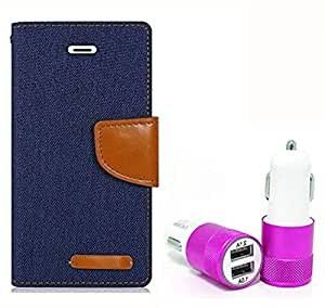 Aart Fancy Wallet Dairy Jeans Flip Case Cover for Blackberry9300 (NavyBlue) + Dual USB Port Car Charger with Smartest & Fastest Technology by Aart Store.