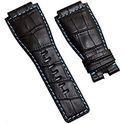 WATCHSTRAPWORLD Black genuine calf leather 24 mm crocodile-style watch strap band with turquoise stitching & lining to fit Bell & Ross BR01 & BR03 watches