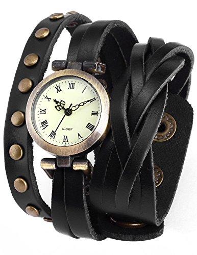 ampm24 9 - reloj , correa de cuero color negro