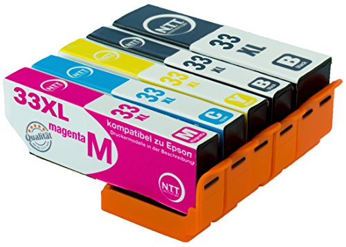 NTT 5x Druckerpatronen kompatibel zu Epson T3351-T3364 kompatibel mit Epson Expression Premium XP-645 XP-830 XP-900 XP-530 XP-540 XP-630 XP-635 XP-640  33XL T3351xl T3361xl T3362xl T3363xl T3364xl