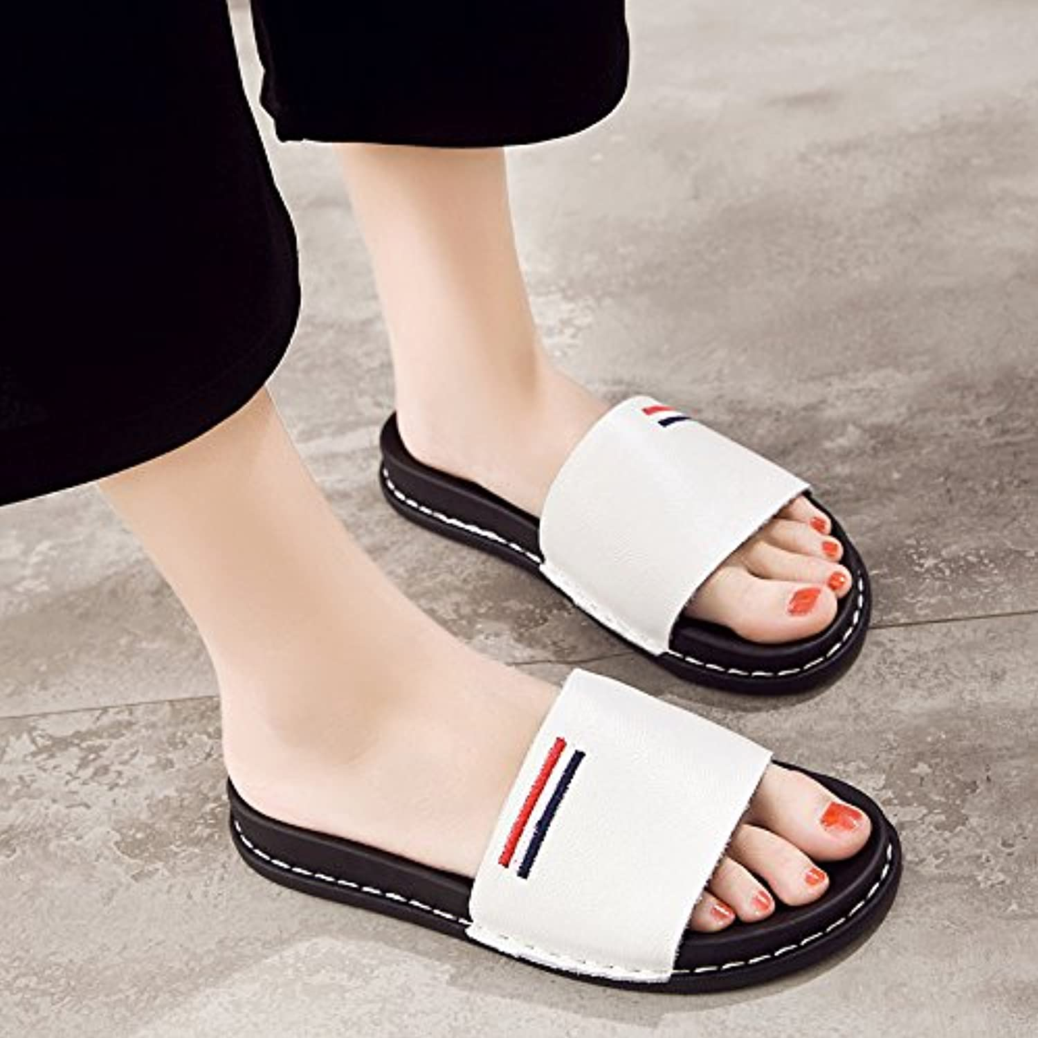 fankou Flat Bottom Cool Slippers Summer Female, Wearing a Soft, Non-Slip Casual Stylish Cool Drag and,38, White A