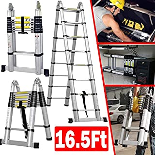 Aluminium Telescopic Ladder 5M(2.5M+2.5M), A-Frame Telescoping Extension Folding Multi-Purpose Portable Compact Tall Climb Ladders for Outdoor Indoor Home Loft Office, 150Kg Load, EN131