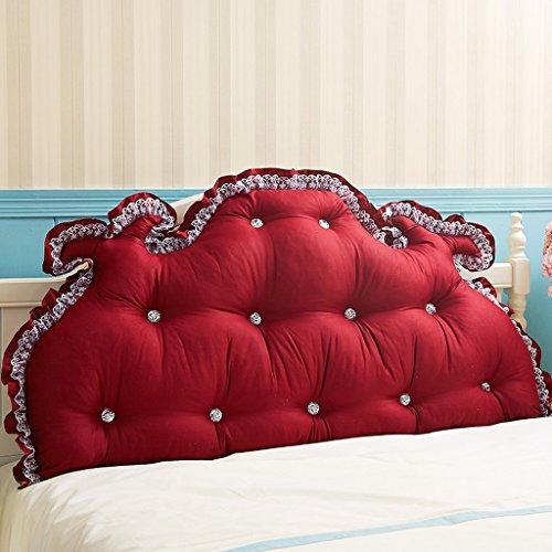 MMM- Coussin de canapé de lit de dossier de coton Coussin de chevet de grand coussin de dos (Couleur : Rouge, taille : 180cm)