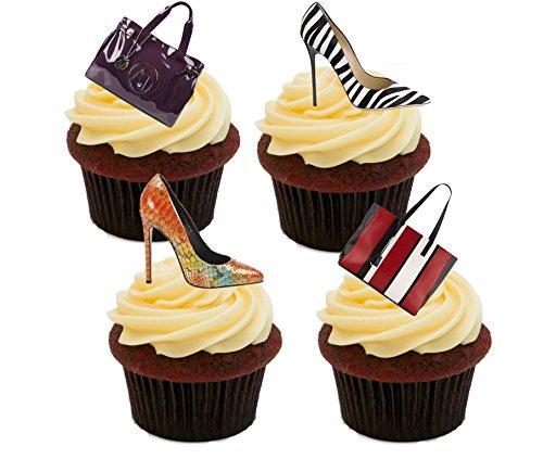 Made4You Essbare Kuchendekorationen mit Handtaschen und Schuhen - aufstellbare Oblaten-Topper, 12er-Pack