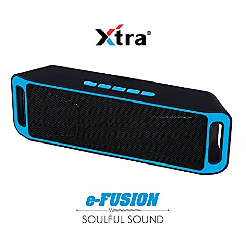 Portable Bluetooth 4,1 Speaker Wireless Stereo FM Radio, High-Def Crystal Sound, bis 128 GB Micro SD Card Support + USB Playback mit Triple Bass + Built-in Mic & 3,5 mm Jack-Grey-Xtra e-Fusion