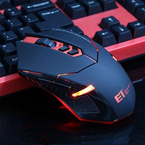 UrChoiceLtd® 2017 ET TECH X-08 2.4GHz 8D 2000DPI RED Wireless 7 Knöpfe Usb Optisch Spiel Maus Mäuse für Mac PC Laptop Desktop Notizbuch (Rot) -