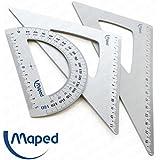 Maped–aluminio de alta calidad Geometría Set–Transportador de ángulos y escuadra–180°/60°/45°
