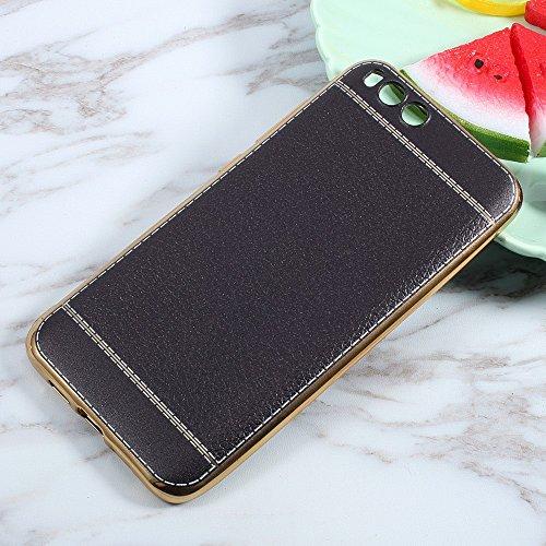 Preisvergleich Produktbild Leather Coated TPU Plated Tasche Hüllen Schutzhülle für Xiaomi Mi 6 - schwarz