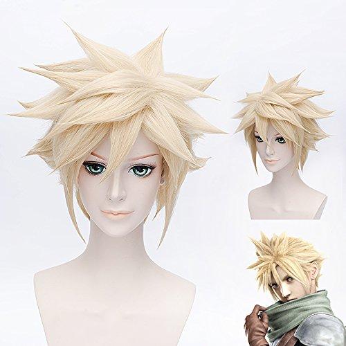 HOOLAZA Light Goldene Kurze Flauschige Schwanz Anti Warping Perücke 30 Cm Final Fantasy 7 Cloud Strife Cosplay ()