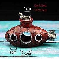 BAOLIJIN Barco Submarino del Acuario Barco con Forma de Ballena Adornos submarinos para el Tanque de Peces Cueva de ocultación de Peces Fish Tank Ornament (Color : Dark Red, tamaño : 13 * 6 * 9cm)