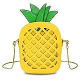 T-Antrix Ananas Form Portemonnaie Umhängetasche Schultertaschen Crossbody Tasche Ledertasche mit Reißverschluss und Zusatzkette Für Mädchen Frauen Gelb