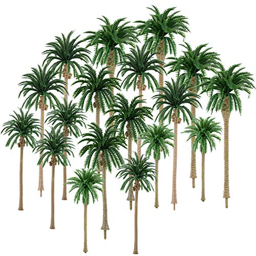Hestya 30 Piezas de Modelo Árbol de Palmera de Cocos Árboles de Modelo de Paisaje Mezclados 2,8-6,3 Pulgadas para Modelo Tren Ferrocarril Arquitectura Diorama Bricolaje de Paisaje