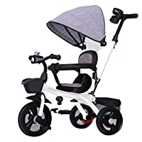 Axdwfd Kids Bike Kids Trike Load 50kg, Baby Tricycle with Titanium Wheel 、Leather Swivel Seat、Push Handle,Stroller Bike for 1-6 Years Toddler Boys/Girls Bicycle