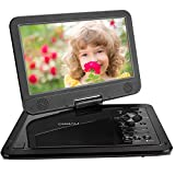 "COOAU 12.5"" Portable DVD Player with 10.5"" Swivel Screen, 5 Hours Built-in Rechargeable Battery, Supports SD Card/USB/Sync TV with Remote Control and Game Controller, Direct Play in Formats AVI/RMVB/JPEG/MP3, Black"