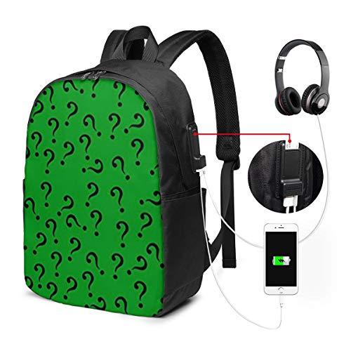 Question Mark In Green Rucksack mit USB-Schnittstelle Casual Rucksack für Computer von hoher Qualität Reisetasche Unisex