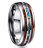 Nuncad Mens Women's 8mm Koa Wood Abalone Shell Band Ring Polished Finish Tungsten Promise Wedding Band Size U½