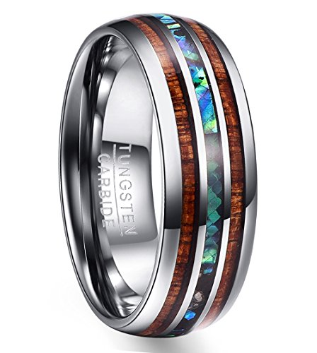 fcf092a0a5bb Nuncad 8mm Wood   Shell Domed Wedding Ring for Men Tungsten Carbide Bands  Polished Finish Comfort