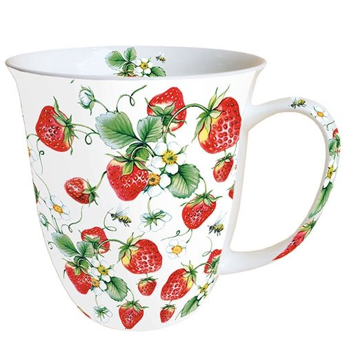 Ambiente Becher - Mug - Tasse - Tee / Kaffee Becher ca. 0,4L Strawberries All Over White - Ideal Als Geschenk